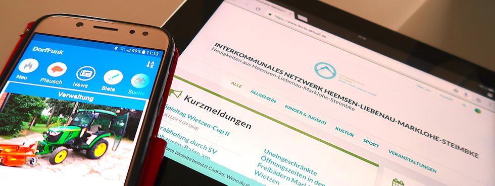 Handy und iPad mit DorfFunk App